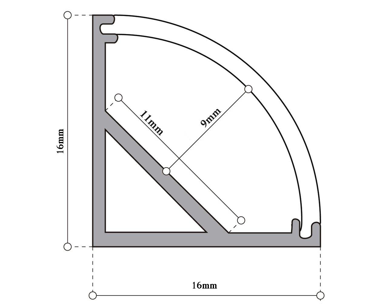 Perfil slim en ngulo 45 para tira led longled for Uniones para perfiles cuadrados de aluminio