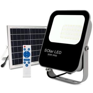 PROYECTOR LED EXTERIOR SOLAR 50W CON PANEL SOLAR Y MANDO A DISTANCIA 6000K