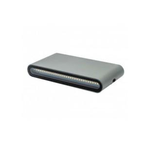 APLIQUE DE PARED PARA EXTERIOR CON LED INTEGRADO  RECTANGULAR 12W IP65 GRIS 3000K