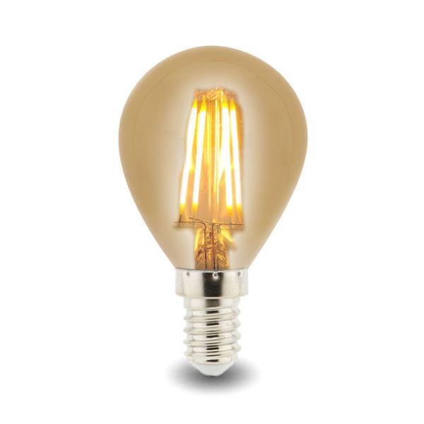 BOMBILLA LED G45 (ESFÉRICA) E14 4W FILAMENTO AMBAR 2700K 1