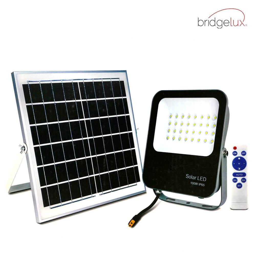 PROYECTOR LED EXTERIOR SOLAR 100W CON PANEL SOLAR Y MANDO A DISTANCIA 6000K
