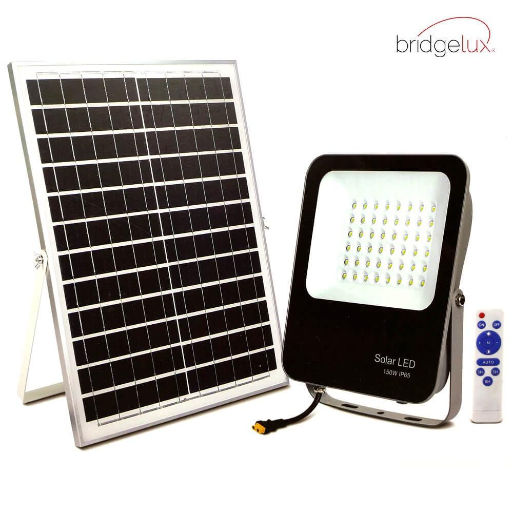 PROYECTOR LED EXTERIOR SOLAR 150W CON PANEL SOLAR Y MANDO A DISTANCIA 6000K 1