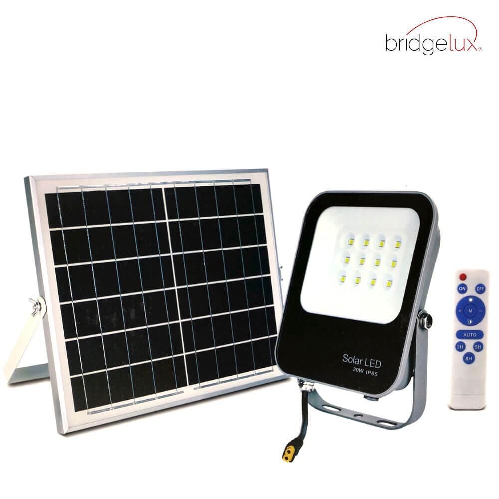 PROYECTOR LED EXTERIOR SOLAR 30W CON PANEL SOLAR Y MANDO A DISTANCIA 6000K