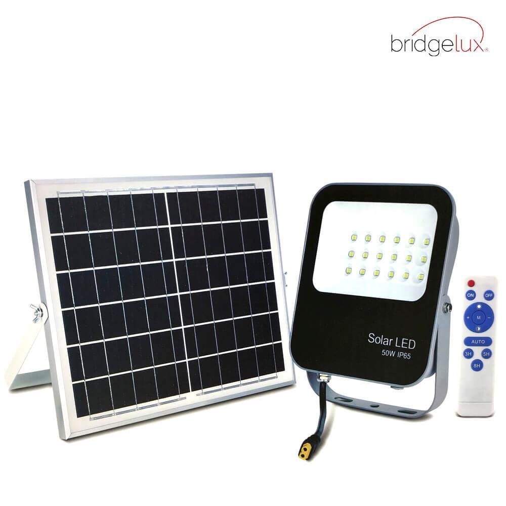 PROYECTOR LED EXTERIOR SOLAR 50W CON PANEL SOLAR Y MANDO A DISTANCIA 6000K 1