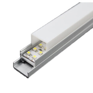 PERFIL SUPERFICIE PARA TIRA LED 220V (BARRA 2M) + DIFUSOR OPAL + TAPAS FINALES (BASE INFERIOR ALUMINIO NO INCLUIDA)