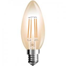 BOMBILLA LED C37 (VELA) E14 4W FILAMENTO AMBAR 2700K