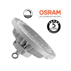 CAMPANA LED INDUSTRIAL UFO 200W BLANCO CHIP OSRAM 60º UGR 17, IP65 Y 5 AÑOS GARANTÍA 6000K