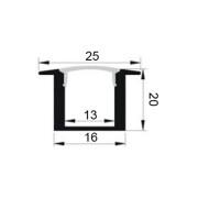 PERFIL PARA EMPOTRAR (2cm ALTO) + DIFUSOR OPAL (BARRA 2M)